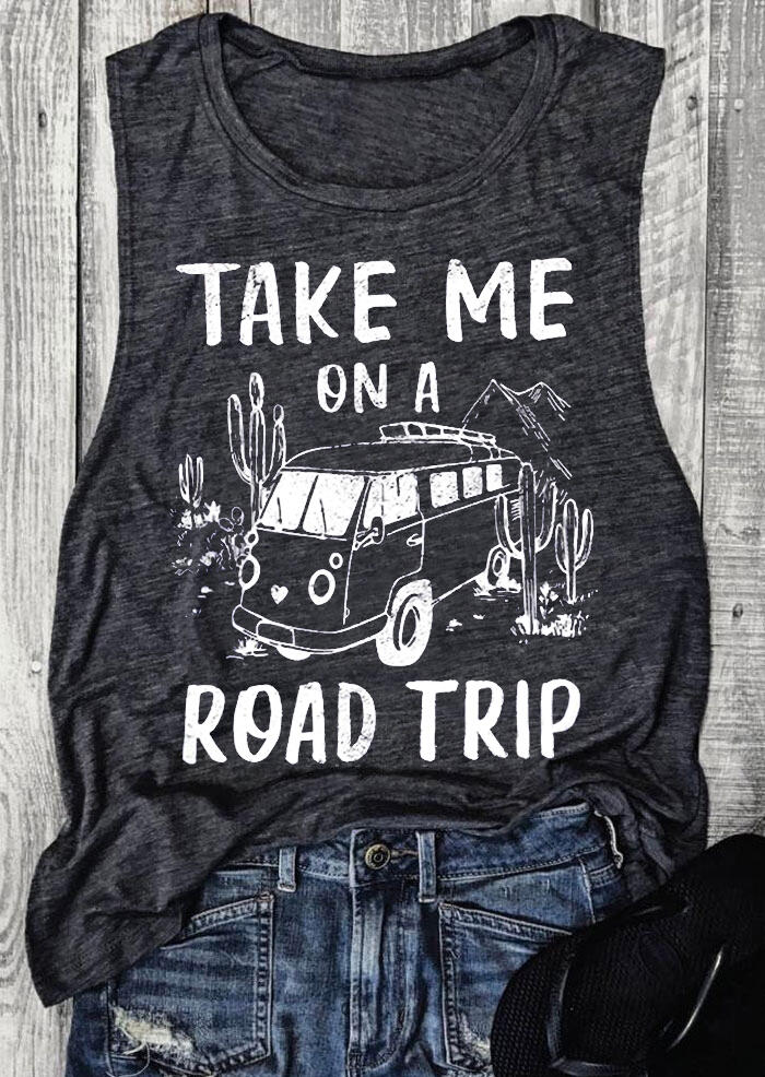 Take Me On A Road Trip Tank - Dark Grey