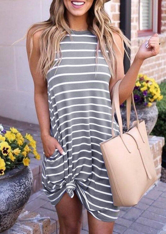 Striped Pocket O-Neck Casual Dress - Gray
