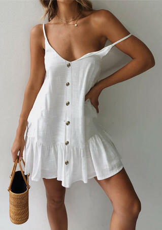 Solid Button Mini Dress without Necklace - White