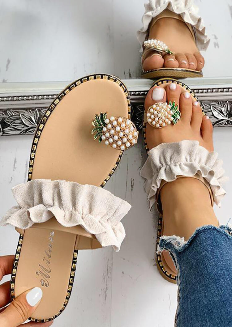 Pineapple Pattern Toe Ring Casual Sandals – Apricot