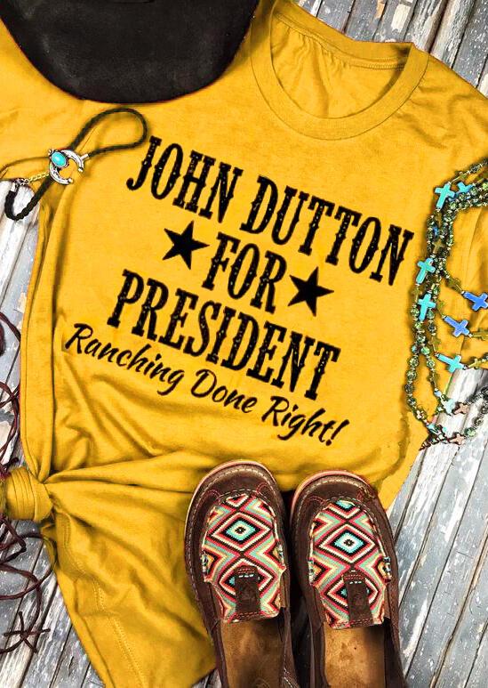 Tees T-shirts John Dutton For President Star T-Shirt Tee in Yellow. Size: S,M,L,XL,2XL,3XL фото