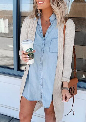 Solid Denim Button Mini Dress without Necklace - Blue