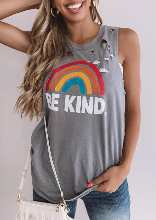 Be Kind Rainbow Hollow Out Tank - Light Grey