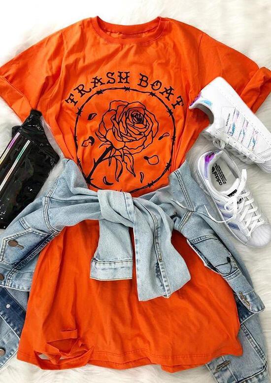 Trash Boat Floral Casual Dress – Orange