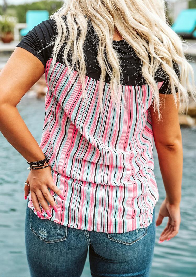 Colorful Serape Striped Splicing T-Shirt Tee - Black