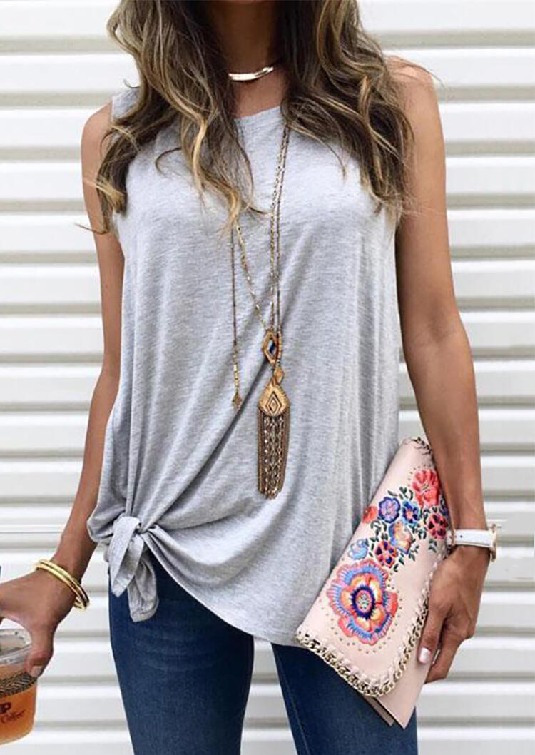 Solid Tie Tank without Necklace - Gray