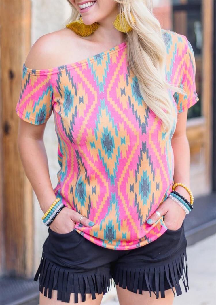 Aztec Geometric Printed One Shoulder Blouse – Multicolor