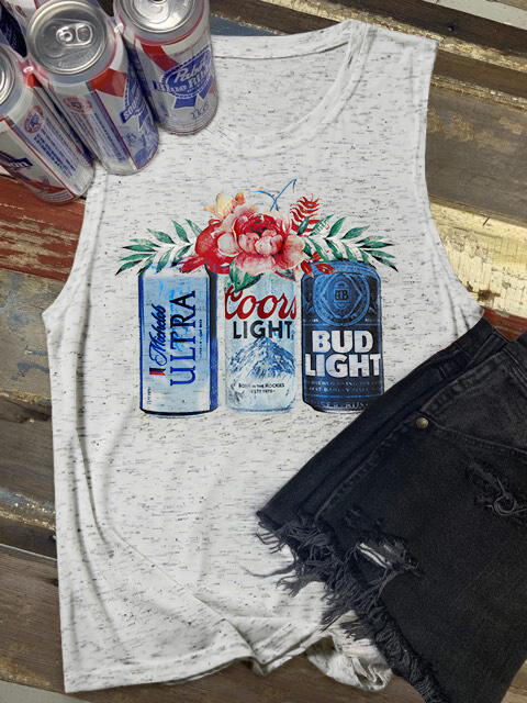Floral Bud Light O-Neck Tank - Light Grey