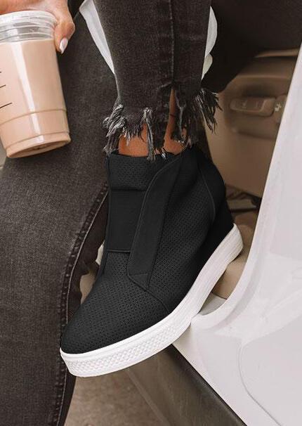 Mesh Hole Zipper Wedged Sneakers - Black фото