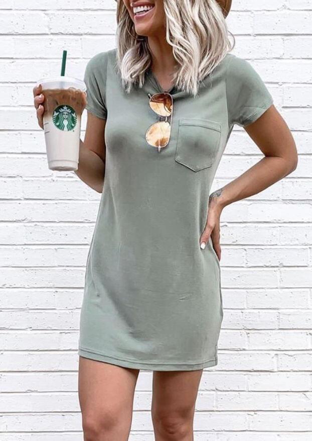 Solid Pocket O-Neck Mini Dress – Light Green