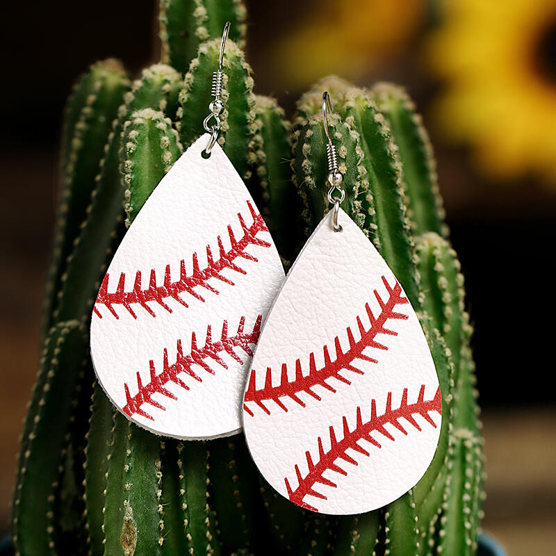 Earrings Baseball Leather Women's Earrings in Yellow. Size: One Size фото