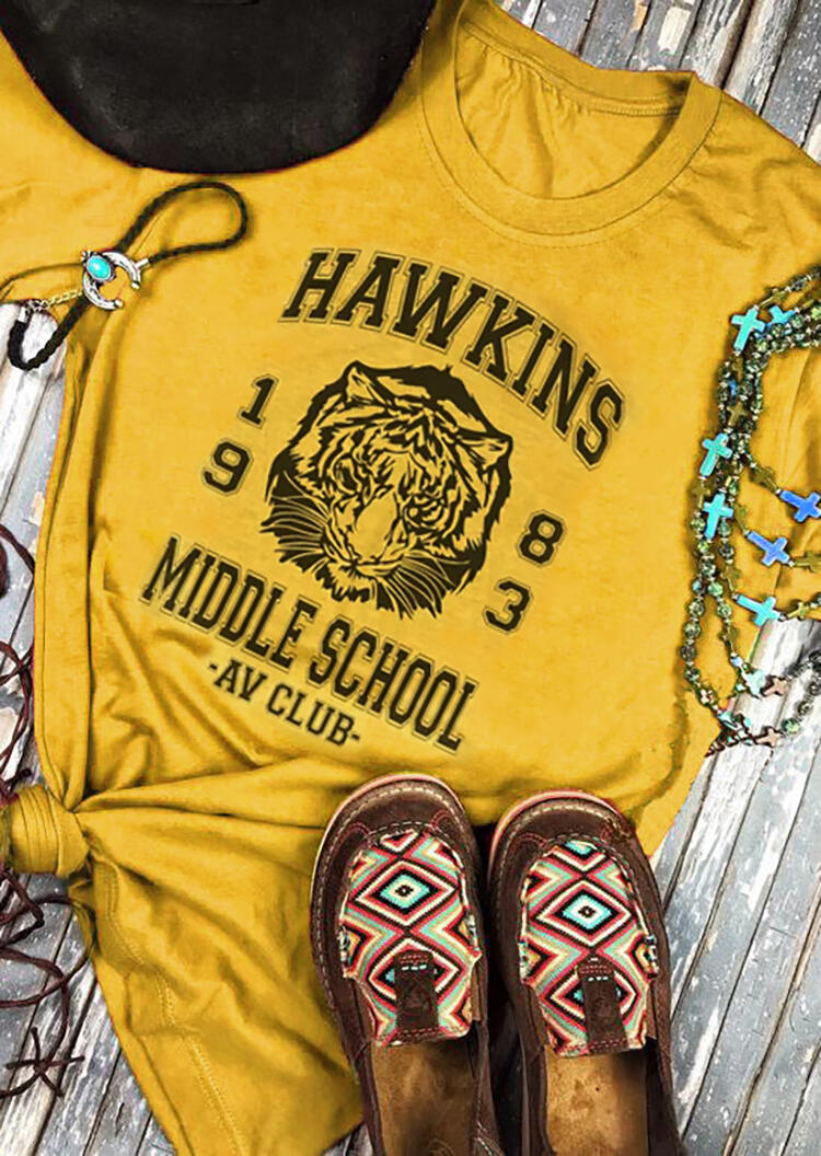 Hawkins 1983 Middle School T-Shirt Tee – Yellow