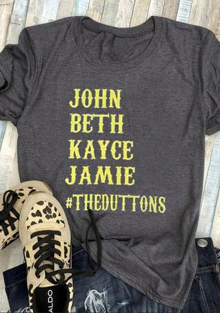 Yellowstone John Beth Kayce Jamie T-Shirt Tee - Dark Grey