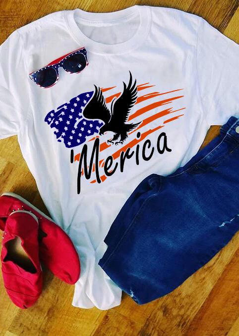 'Merica Eagle American Flag T-Shirt Tee – White