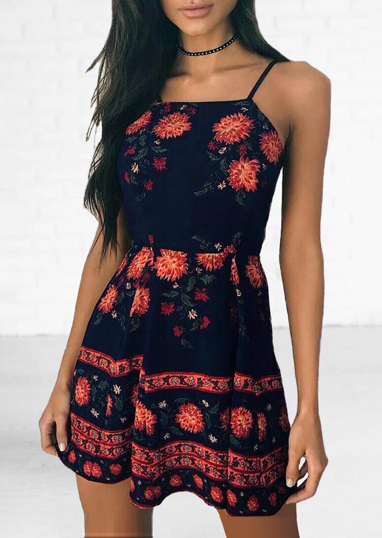 Floral Spaghetti Strap Mini Dress without Choker – Navy Blue