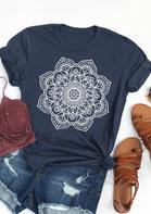 Mandala Printed O-Neck T-Shirt Tee - Deep Blue