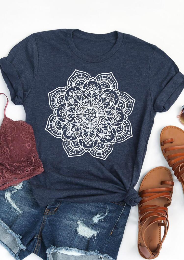 Tees T-shirts Mandala Printed O-Neck T-Shirt Tee in Deep Blue. Size: S,M,L,XL фото