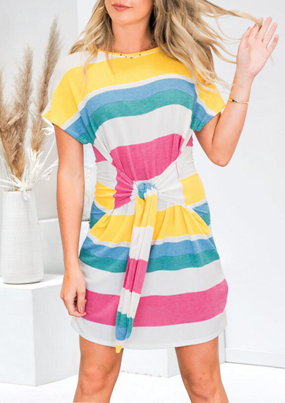 Rainbow Striped Splicing Tie Mini Dress without Necklace