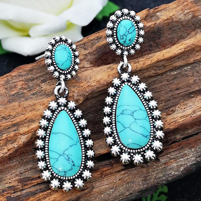 Earrings Flower Turquoise Vintage Earrings. Size: One Size