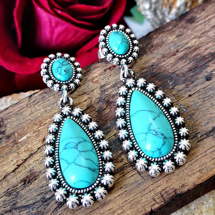 Flower Turquoise Vintage Earrings