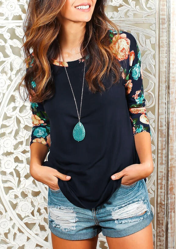 Floral Splicing Three Quarter Sleeve T-Shirt Tee without Necklace - Navy Blue фото