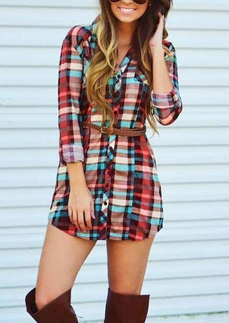 Mini Dresses Plaid Button Long Sleeve Mini Dress without Belt in Plaid. Size: S,M,L,XL фото
