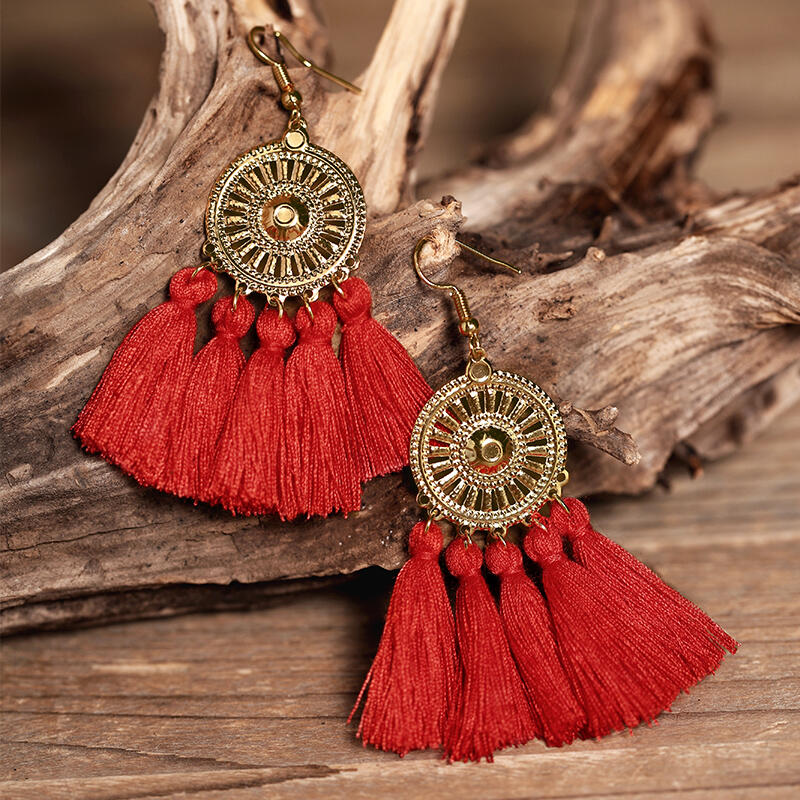 Earrings Sunflower Fan-shaped Tassel Earrings in Red,White,Army Green. Size: One Size фото