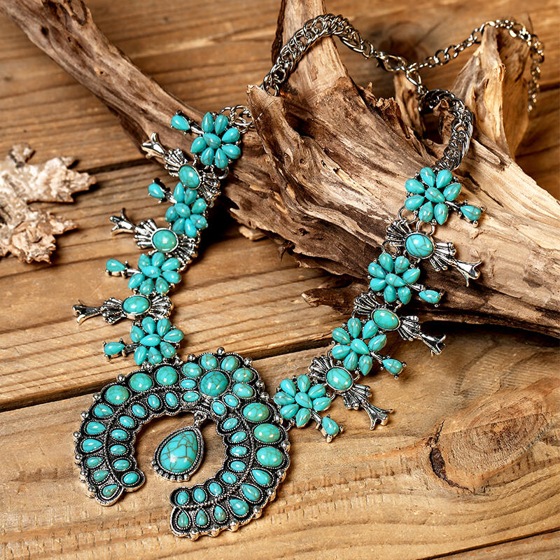 Necklaces Bohemian Turquoise Maxi Necklace in #1. Size: One Size фото