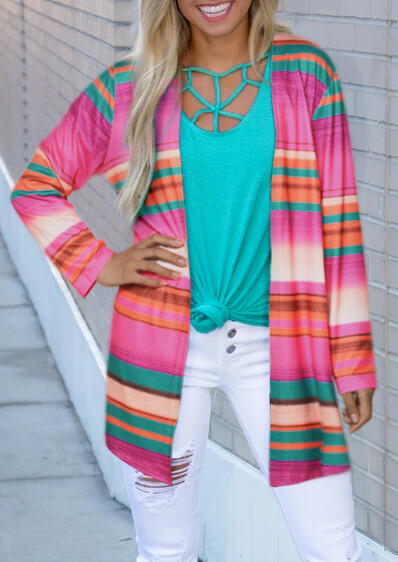 Colorful Striped Pocket Long Sleeve Cardigan – Multicolor