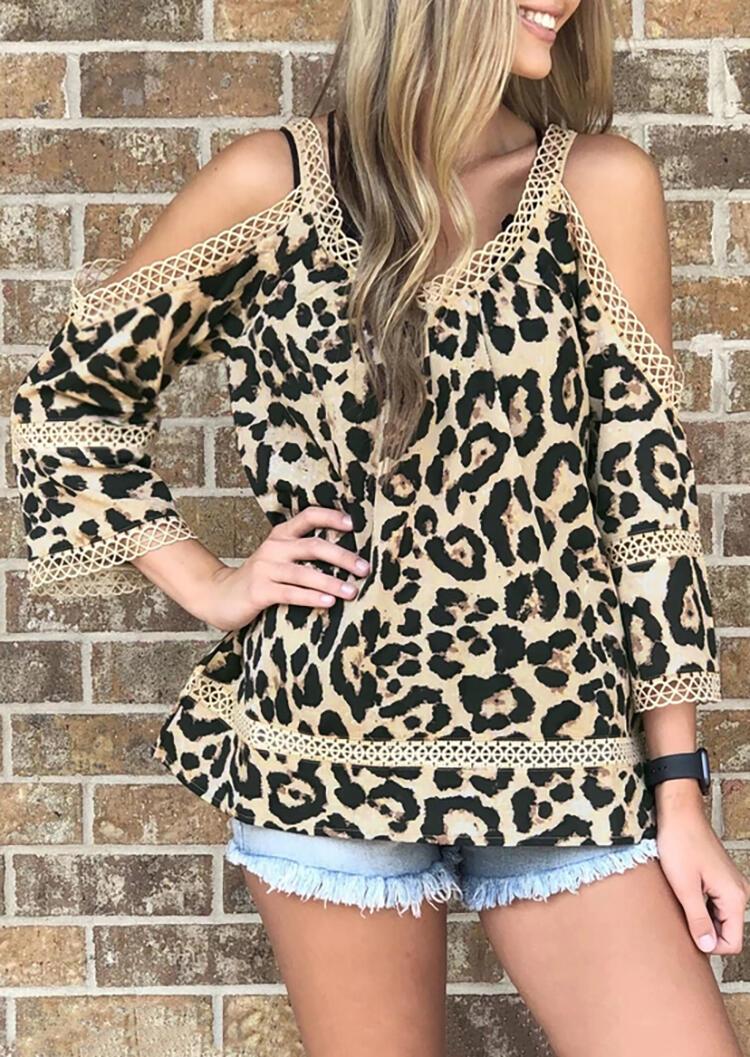 Leopard Lace Splicing Cold Shoulder Blouse фото