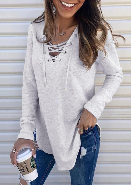 Blouses Lace Up V-Neck Blouse without Necklace in Light Grey. Size: S,M,L,XL фото