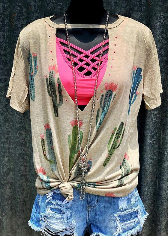 Cactus Hollow Out Blouse without Necklace - Flesh