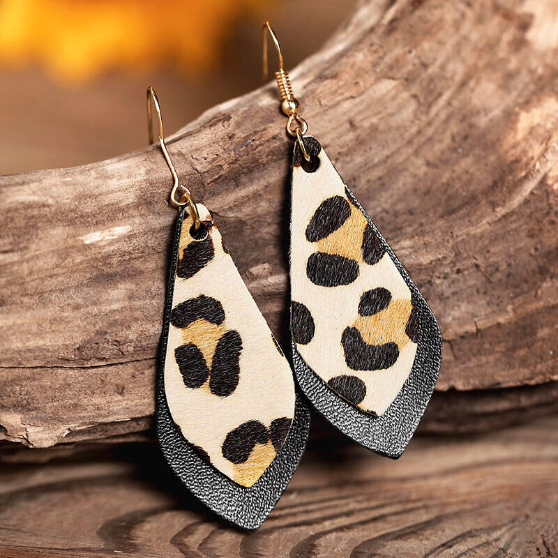 Leopard Printed Layed Leather Earrings фото