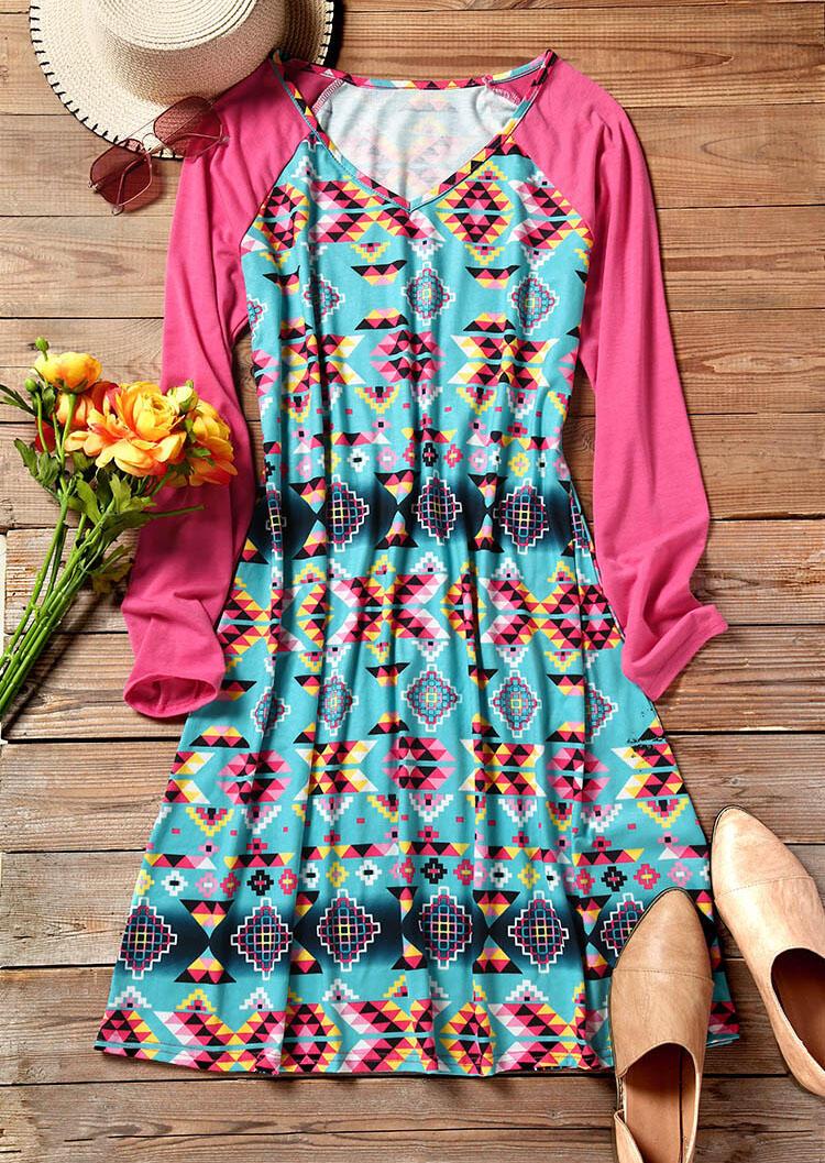 Aztec Geometric Printed Casual Dress – Multicolor