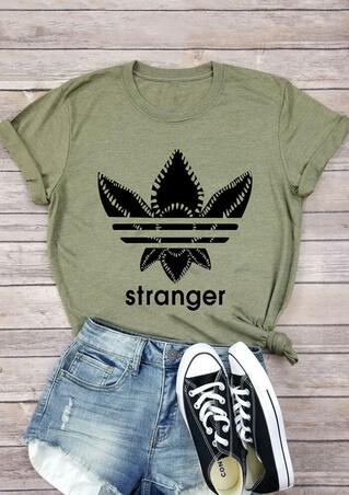 Stranger Things Printed T-Shirt Tee - Army Green