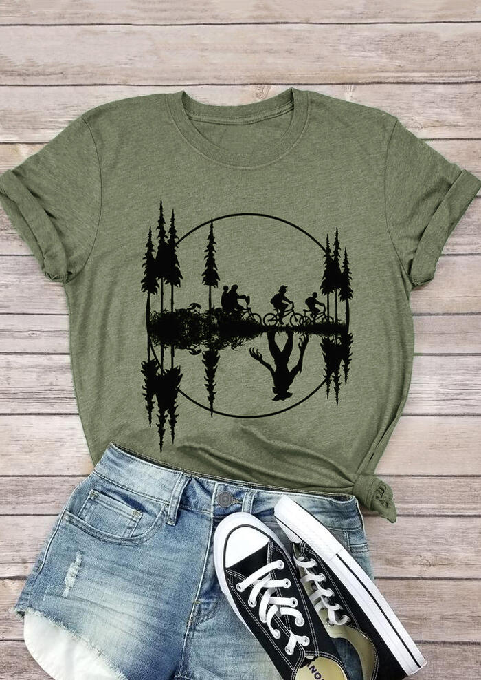 Upside Down Stranger Things Bicycle T-Shirt Tee – Army Green