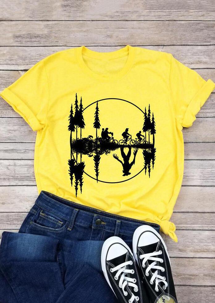 Upside Down Stranger Things Bicycle T-Shirt Tee – Yellow