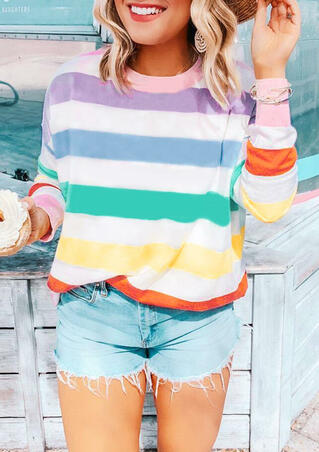 Colorful Striped Long Sleeve T-Shirt Tee