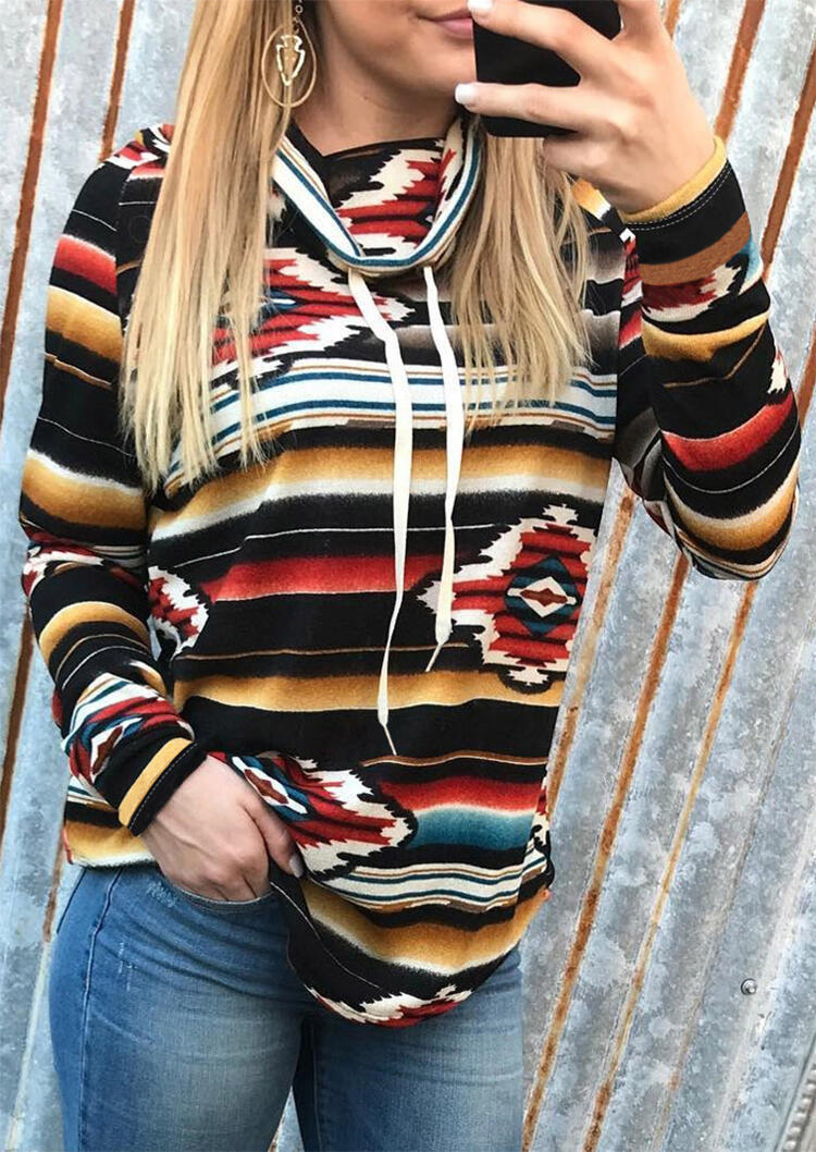 Sweatshirts Striped Geometric Cowl Neck Sweatshirt in Multicolor. Size: S,M,L,XL,2XL,3XL фото