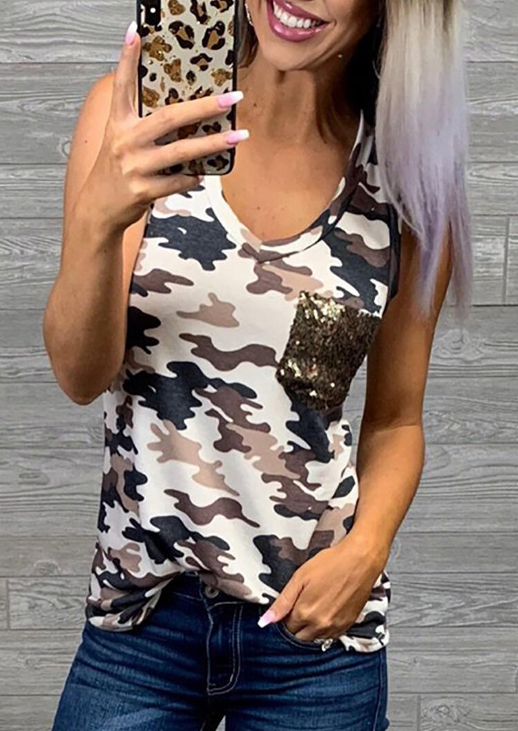 Camouflage Printed Sequined Pocket Tank