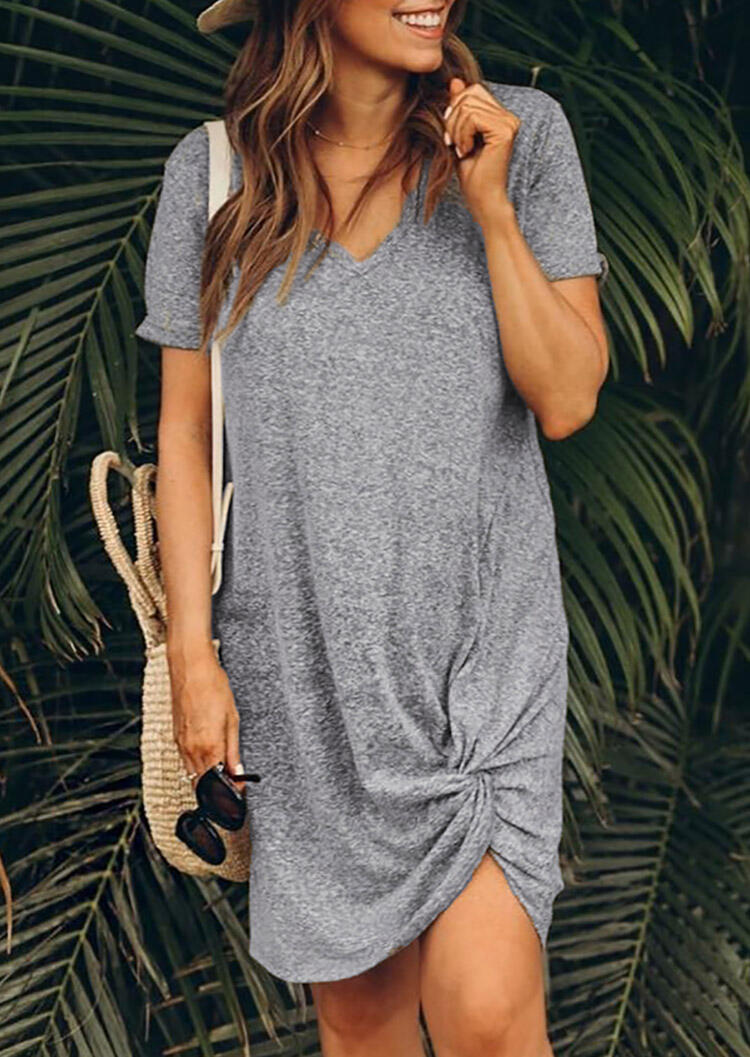 Solid V-Neck Casual Dress - Gray
