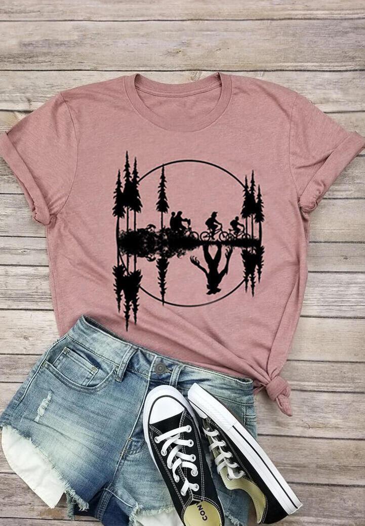 Stranger Things Printed O-Neck T-Shirt Tee – Pink