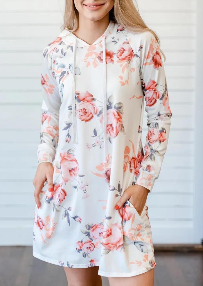 Floral Pocket Hooded Long Sleeve Mini Dress – White