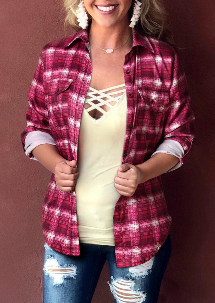 Plaid Pocket Turn-Down Collar Shirt without Necklace
