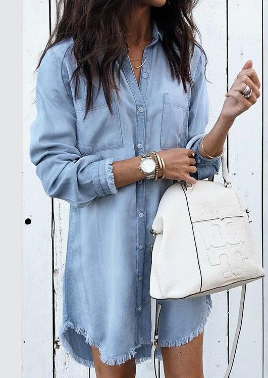 Solid Denim Tassel Splicing Mini Dress without Necklace – Blue