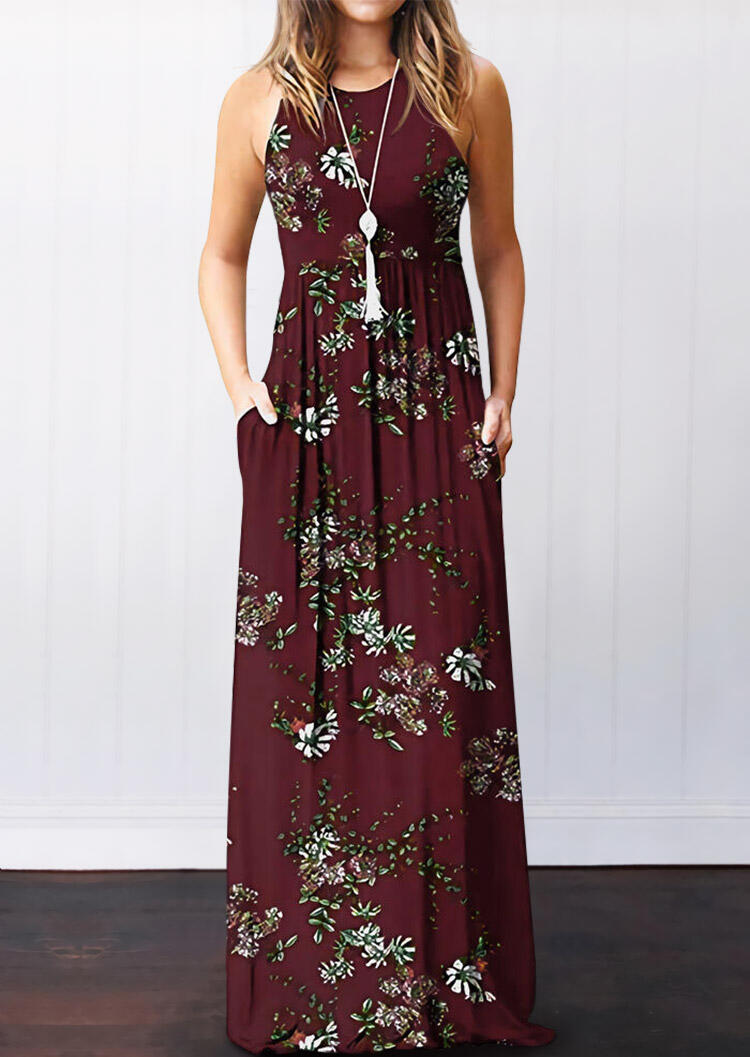 Maxi Dresses Floral Pocket Sleeveless Maxi Dress without Necklace in Burgundy. Size: S,M,L,XL фото