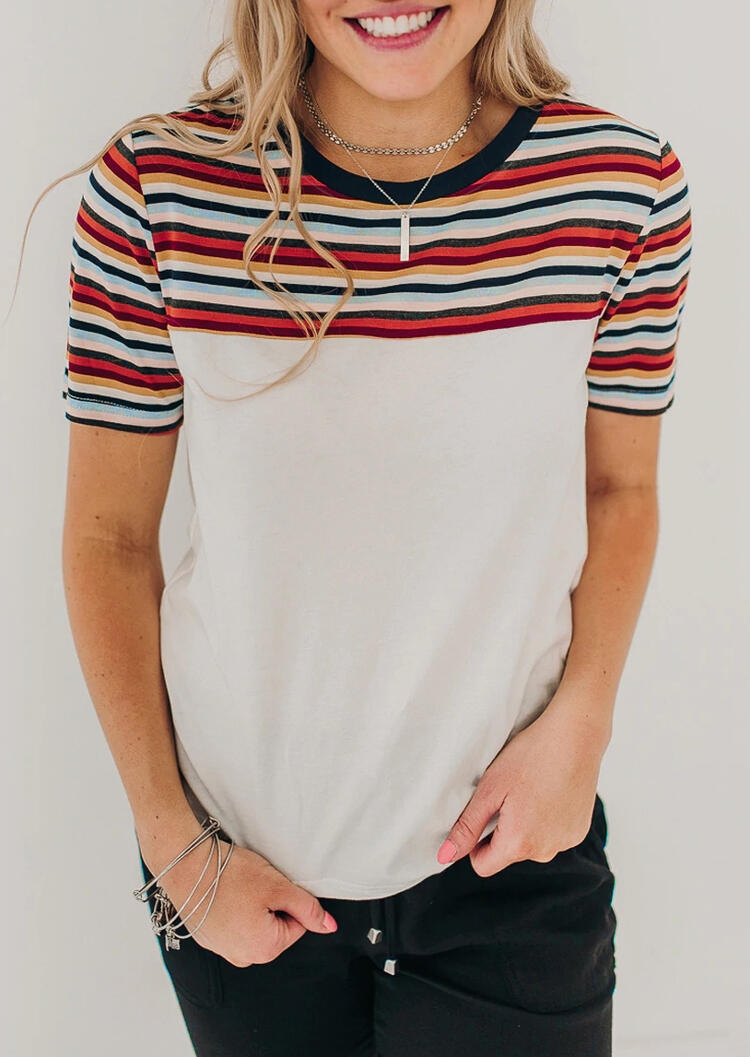 Colorful Striped Splicing T-Shirt Tee without Necklace – White