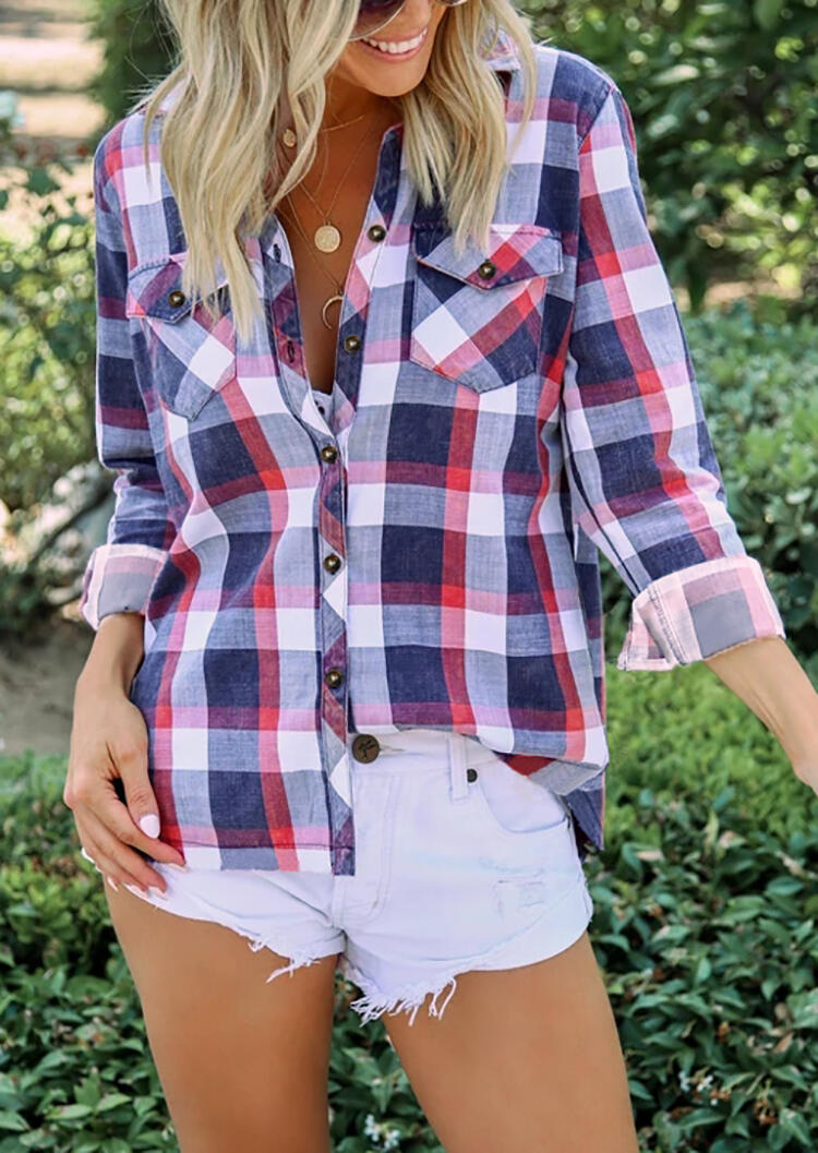 Plaid Dual-Pocket Button Shirt without Necklace фото