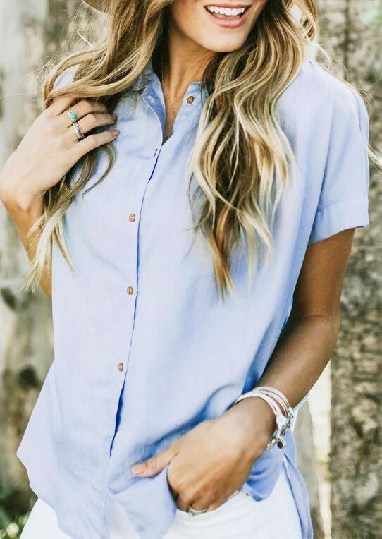 Solid Button Ruffled Shirt – Sky Blue