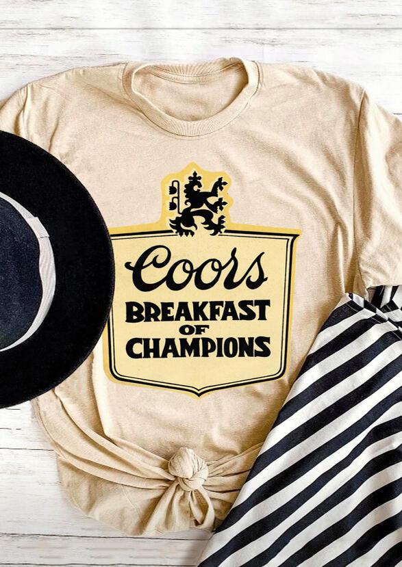 Coors Breakfast Of Champions T-Shirt Tee – Light Khaki